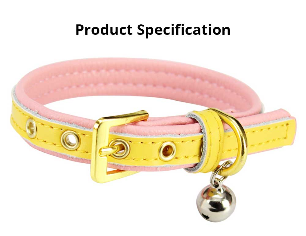 Delicate Leather Dog Cat Collar, Hardware Comfort Bell Dog Collar, Cowhide Small Pet Supplies 6