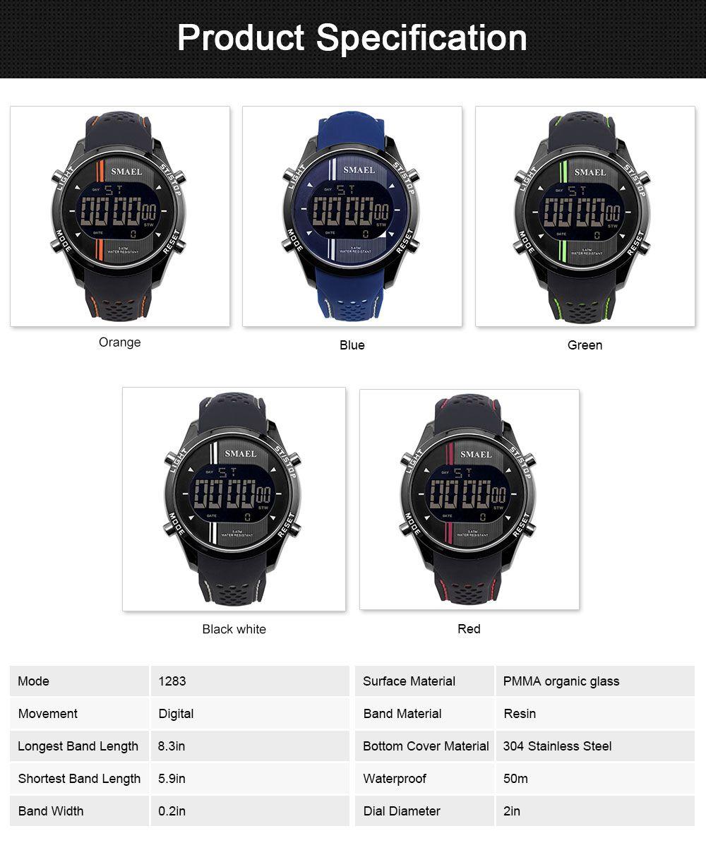 Digital Sport Watch for Men, Multifunctional Smartwatch 50M Waterproof Outdoors Watch 6