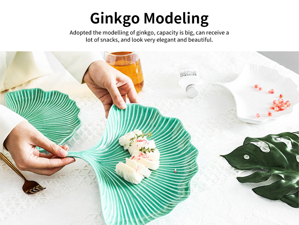 Creative Dessert Jewelry Storage Plate with Ginkgo Modeling & Streamline Design for Daily Decoration 2