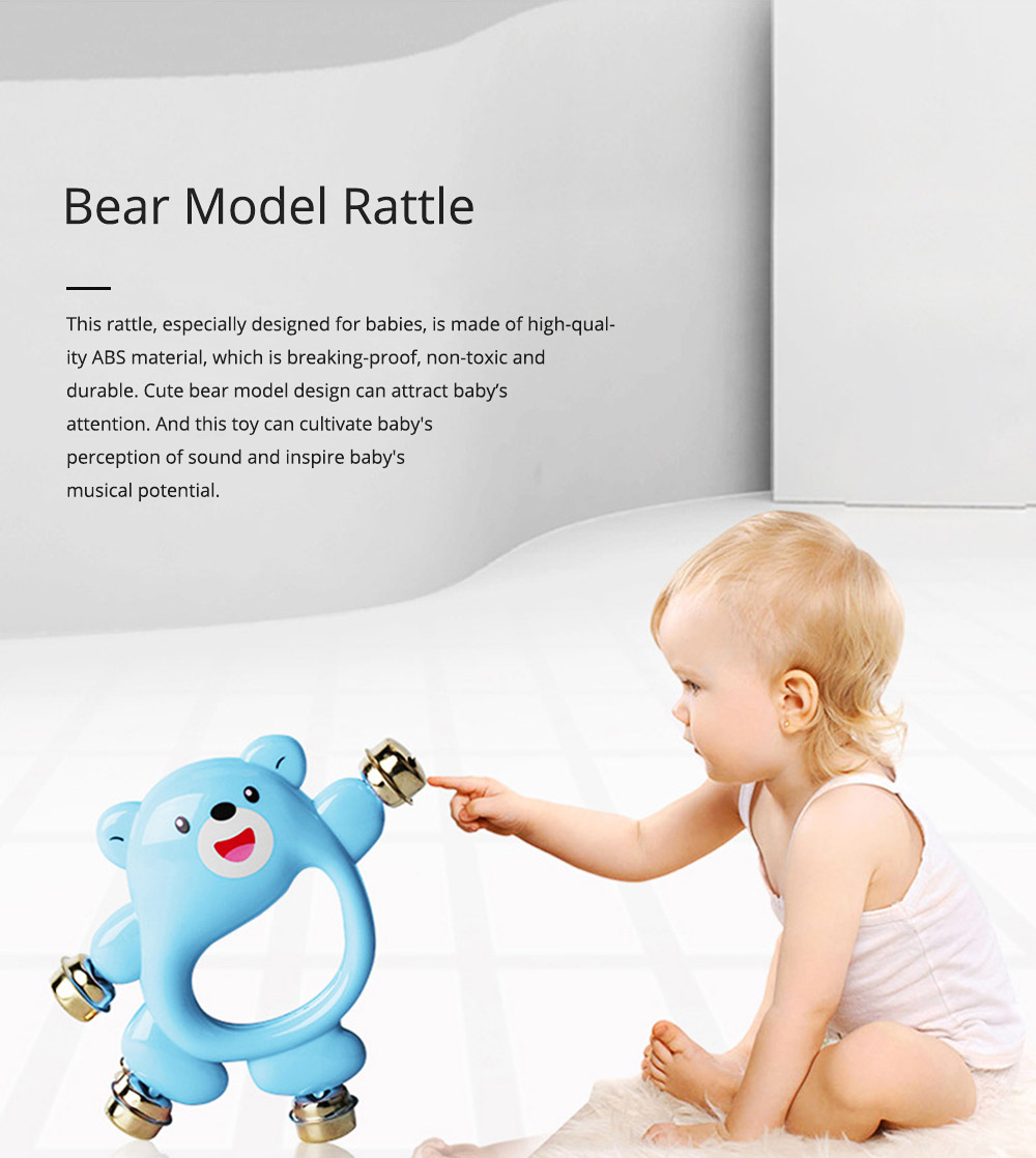 Creative Bear Hand Bell Toy for Infants, Cute 0-2 Years Old Babies Early Education Toy Solid ABS Rattle with Bells 0