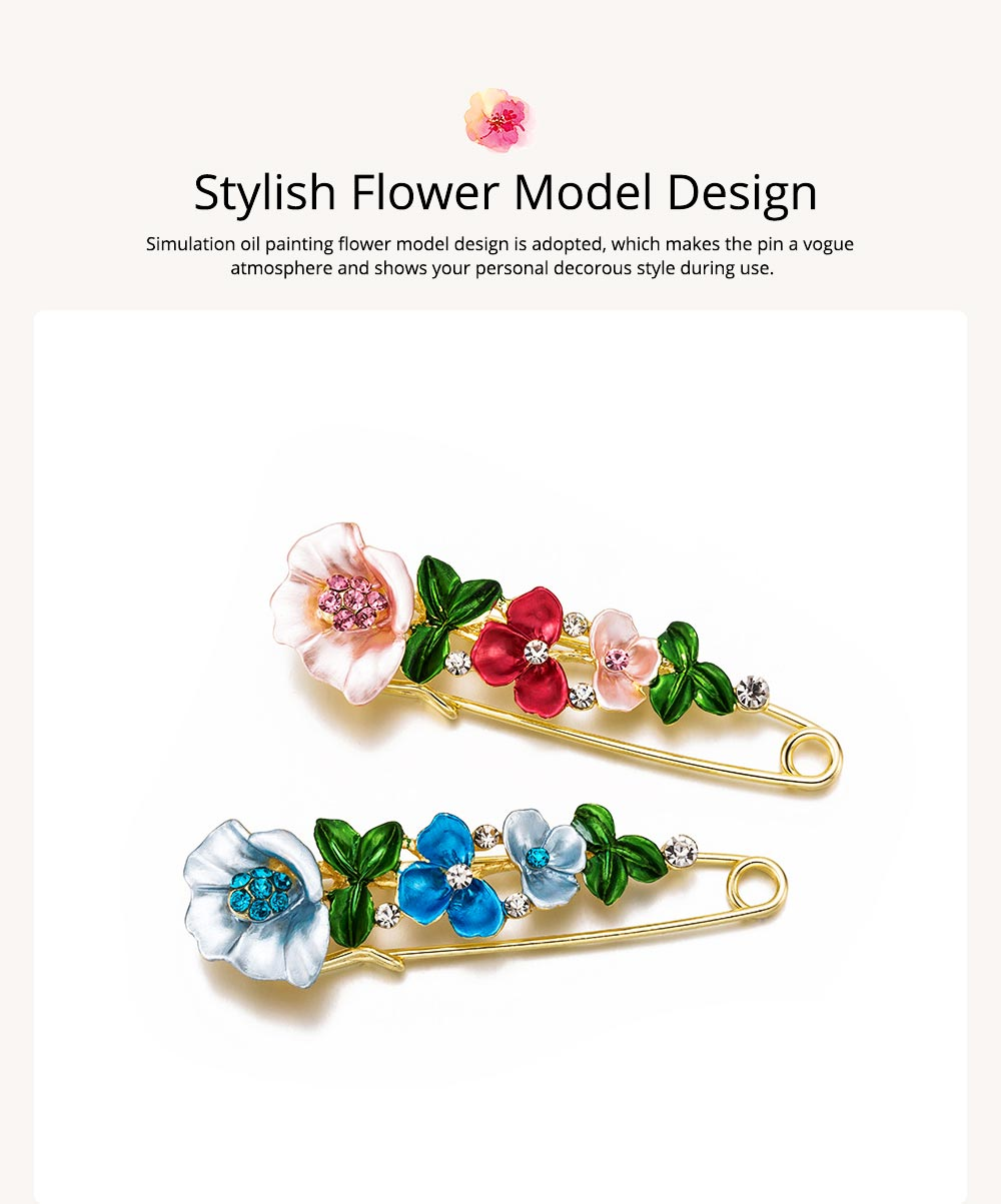 Flower Brooch for Women, High-end Fancy Oil Painting Brooches Pin Elegant Dresses Jewelry 3