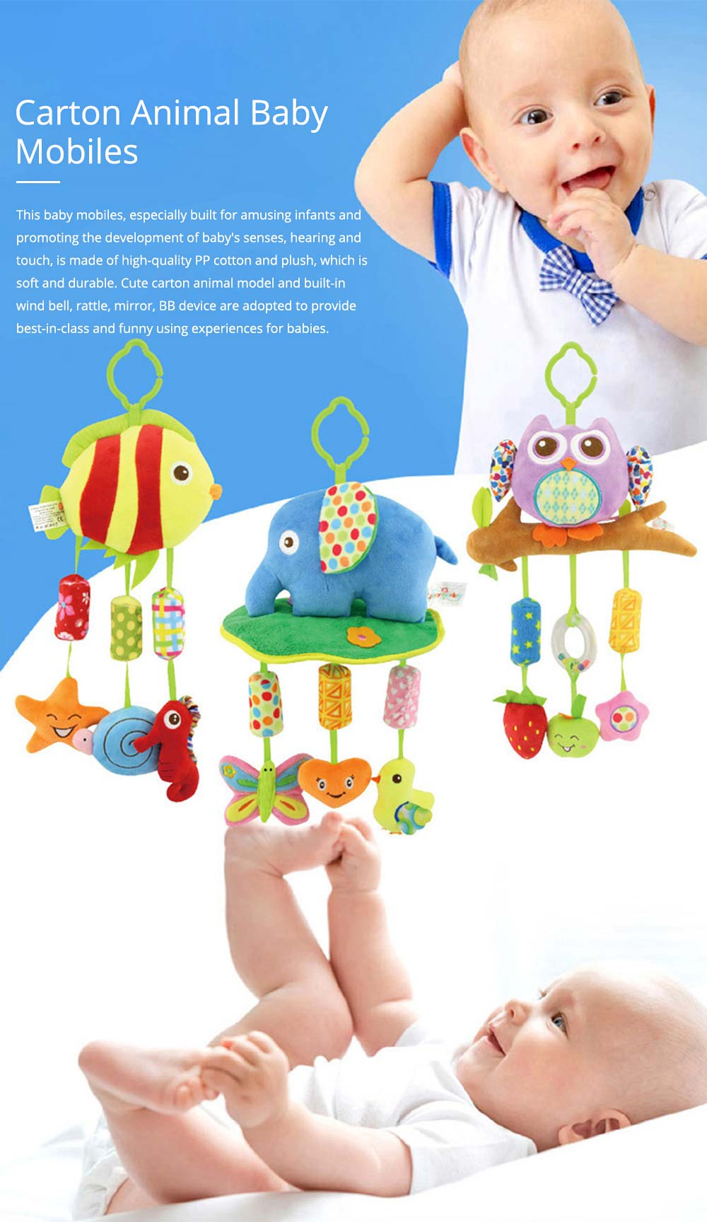Cute Cartoon Animal Plush Baby Mobile, Delicate Fancy Pacification Early Education Stroller Hanging Toy for Infants Babies 0