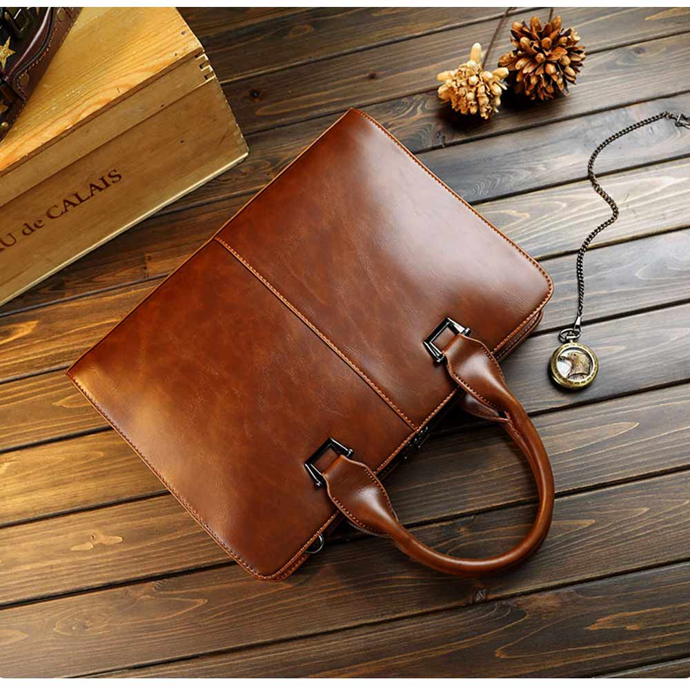Business Shoulder Bag with Comfortable Hand Belt & Metal Zipper, PU Leather & Square Pull Card Shoulder Bag 10