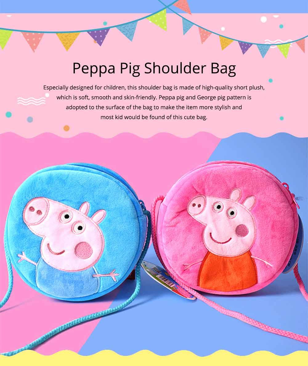 Cute Peppa George Pig Little Round Children Shoulder Bag, Ultrasoft Plush Cotton Satchel Cross Body Bag for Girls Boys 0