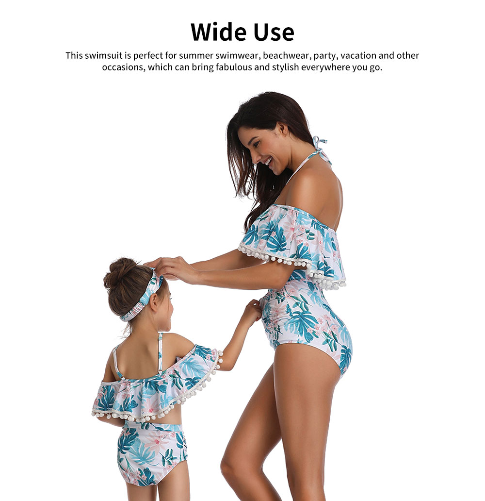Parent-child High Waist Bikinis with Floral Prints, Lovely Split Bikini with Breast Wiping & Fold Design 5