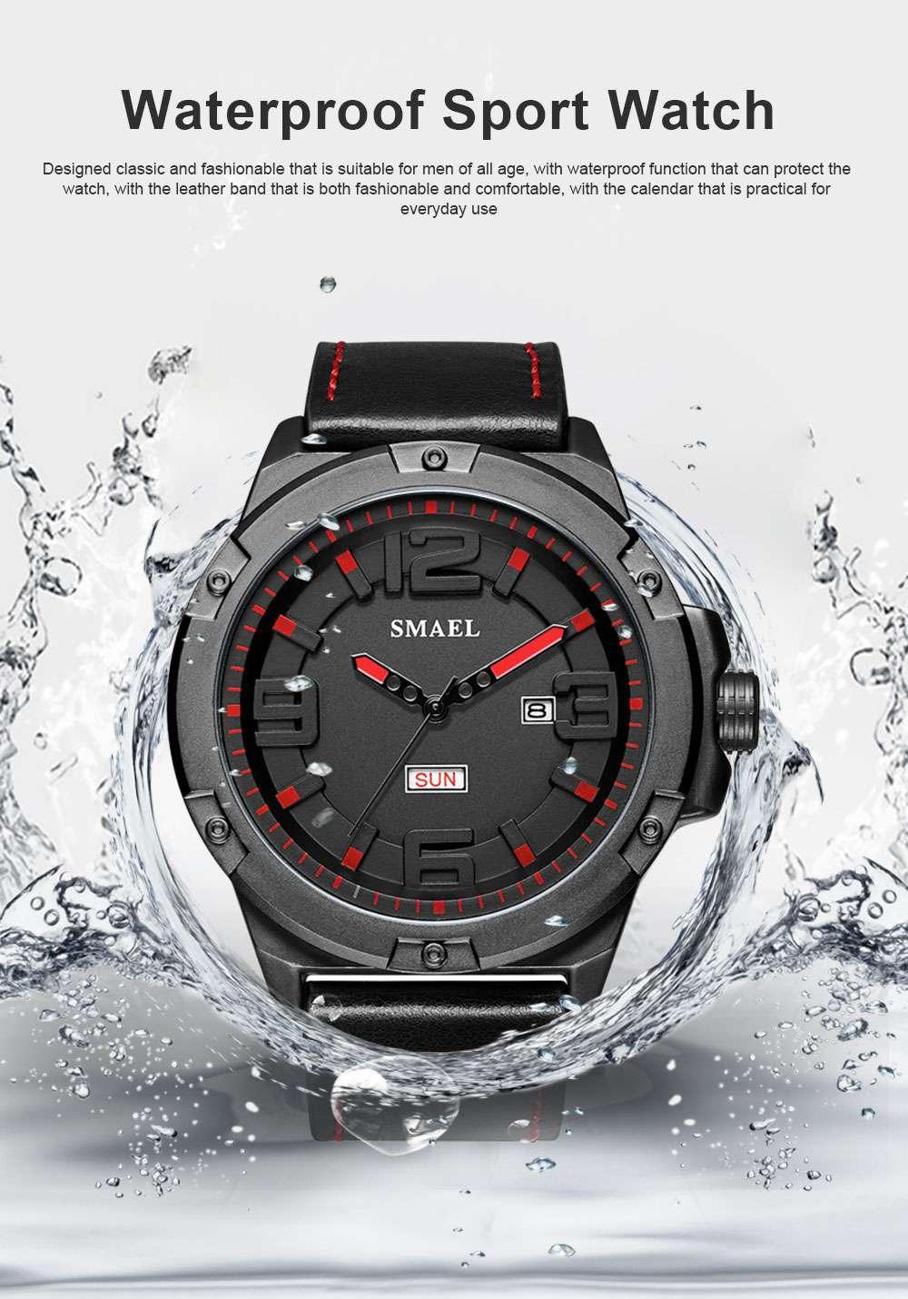 Waterproof Sport Watch with Calendar, Multifunctional Leather Band Sport Watchfor Men 0