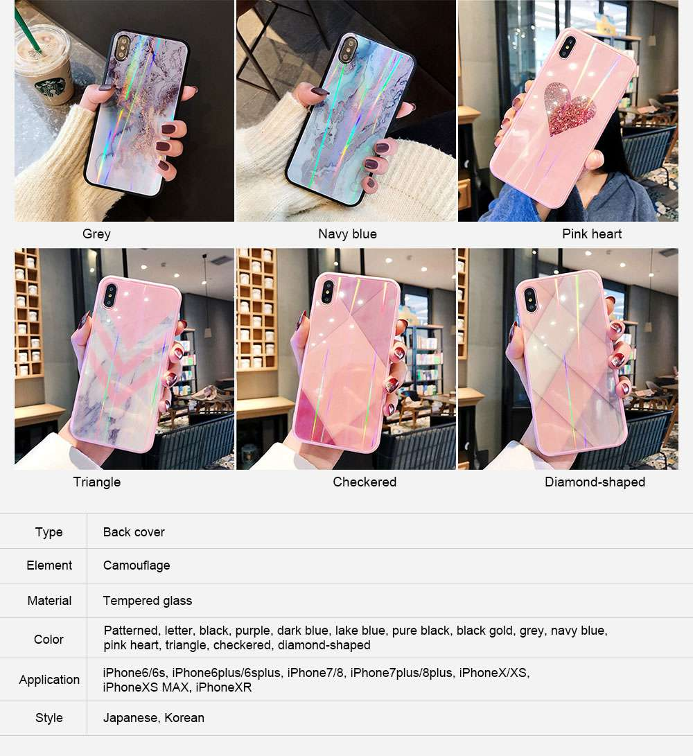 iPhone Protection Case Tempered Glass Back for iPhone XS/8 Plus/MAX/XR/7 Plus 6