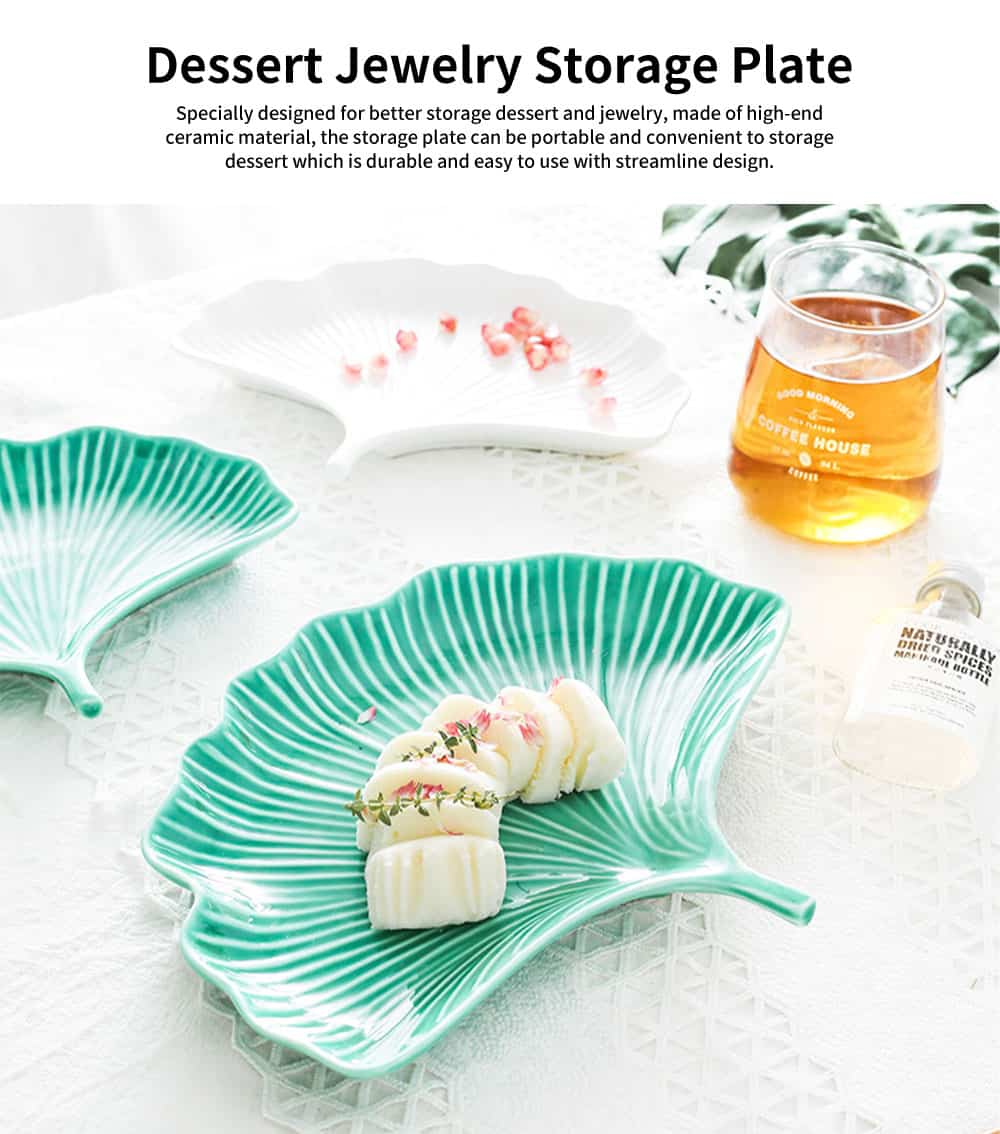 Creative Dessert Jewelry Storage Plate with Ginkgo Modeling & Streamline Design for Daily Decoration 0