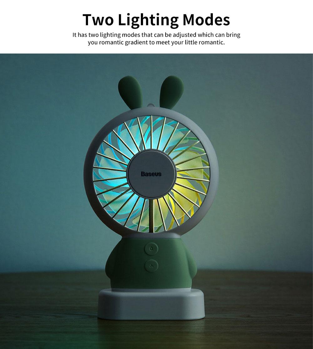 Portable Travel Mini Fan, Internal Blue and Side Light, USB Powered Handheld Fan 5