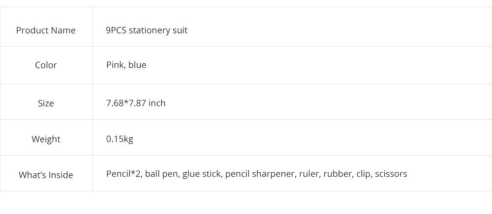 Functional 9 PCS Pencil Sharpener Rubber Scissors Glue Stick Clip Stationery Suit, Useful Stylish Children Study Accessories School Supplies 8
