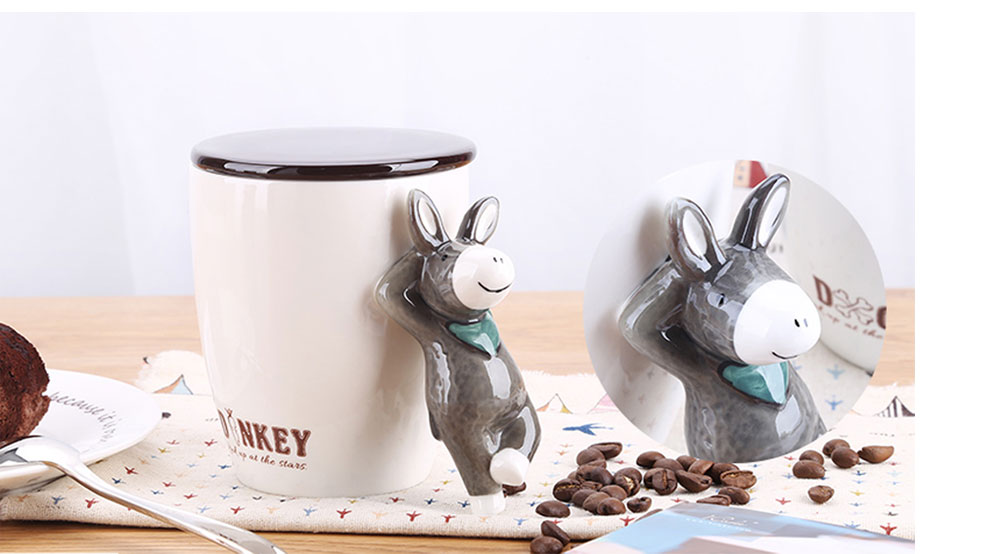 Creative Ceramic Animal Mug, Personalized Household Spoon Cup, Couple Milk Coffee Cup, Office Cup 3