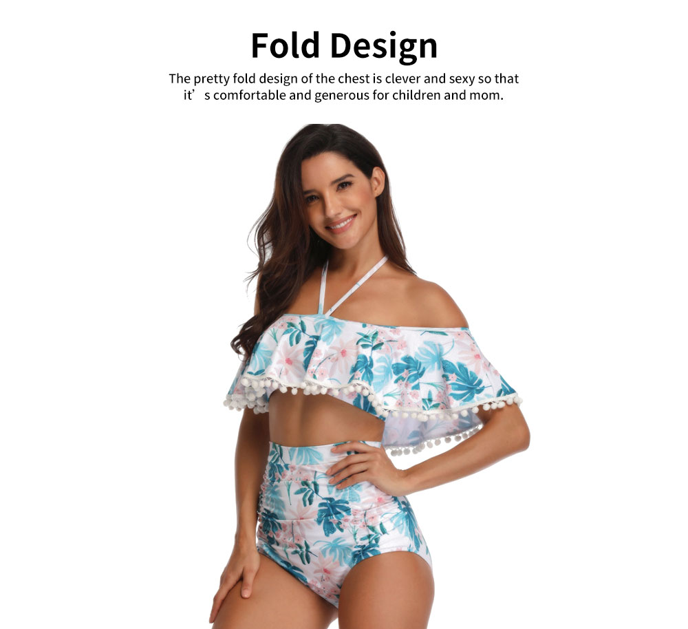Parent-child High Waist Bikinis with Floral Prints, Lovely Split Bikini with Breast Wiping & Fold Design 3