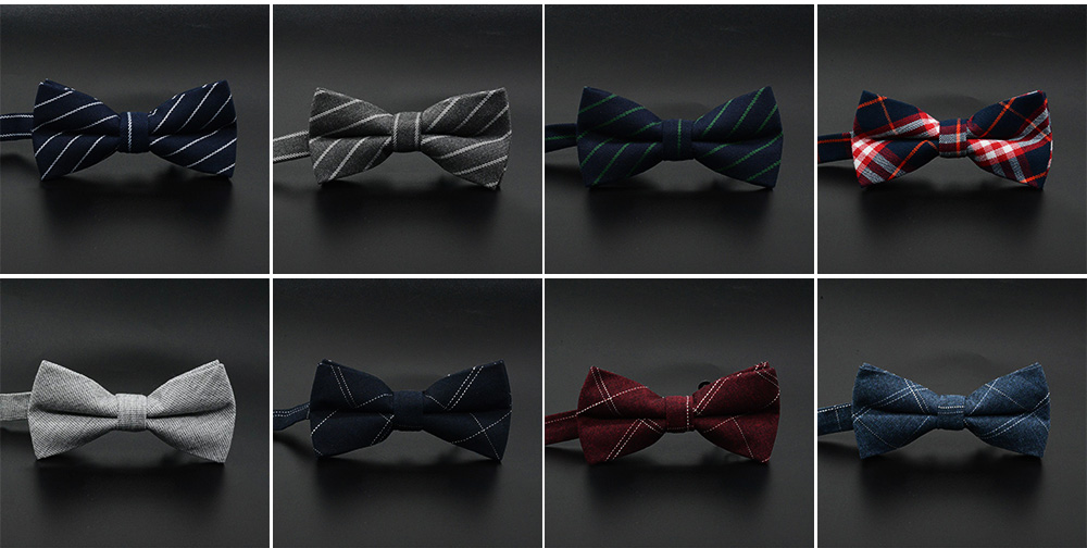 Men' Cotton Grid Self Tie Bow Ties, Unique Bow Ties with Various Styles for Groomsman Gets Married 7