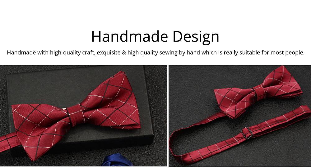 Men's Self Tie Bow Ties, Unique Grid Pattern Bow Ties, Various Styles for Groomsman Gets Married 4