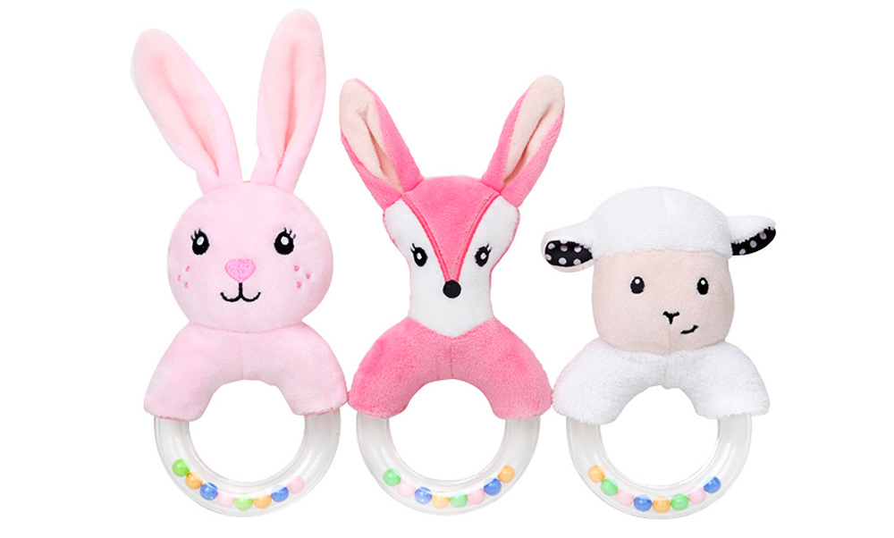 Cute Fluffy Cartoon Animals Rattle, Creative Soft Short Plush Doll Hand Bell with Delicate Embroidery 2