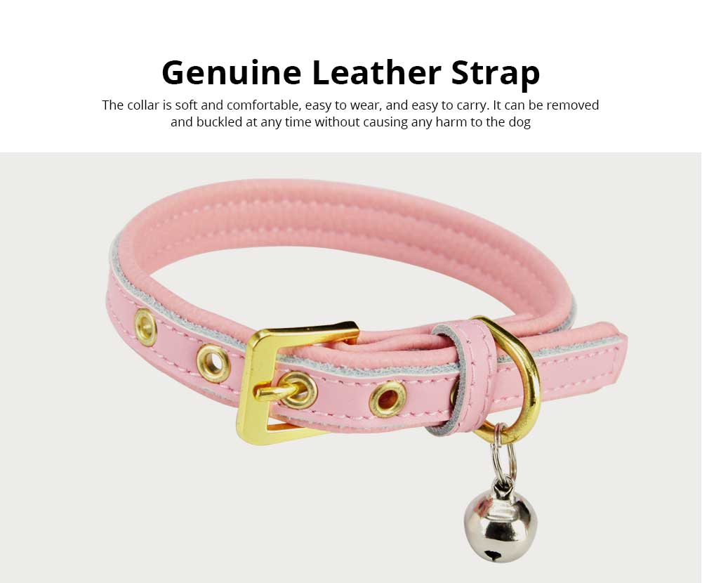 Delicate Leather Dog Cat Collar, Hardware Comfort Bell Dog Collar, Cowhide Small Pet Supplies 4