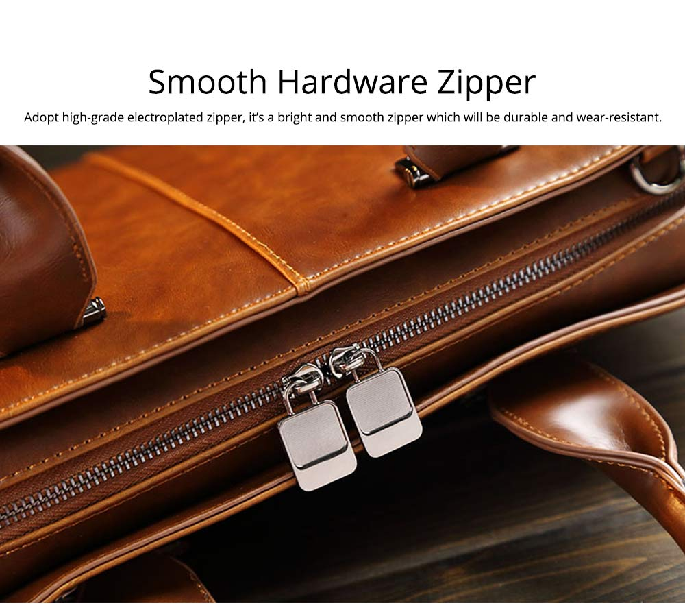Business Shoulder Bag with Comfortable Hand Belt & Metal Zipper, PU Leather & Square Pull Card Shoulder Bag 6