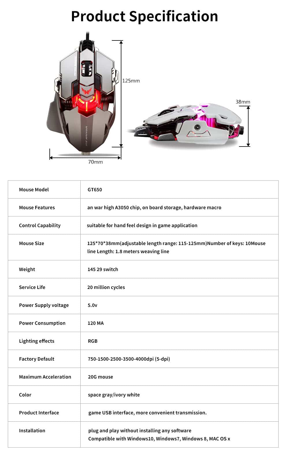 5 Key Esports Game Cool Mouse, Gaming Mouse With Two Modes and 10MM Hand Distance Support for Computer, PC, Laptop, MacBook 5