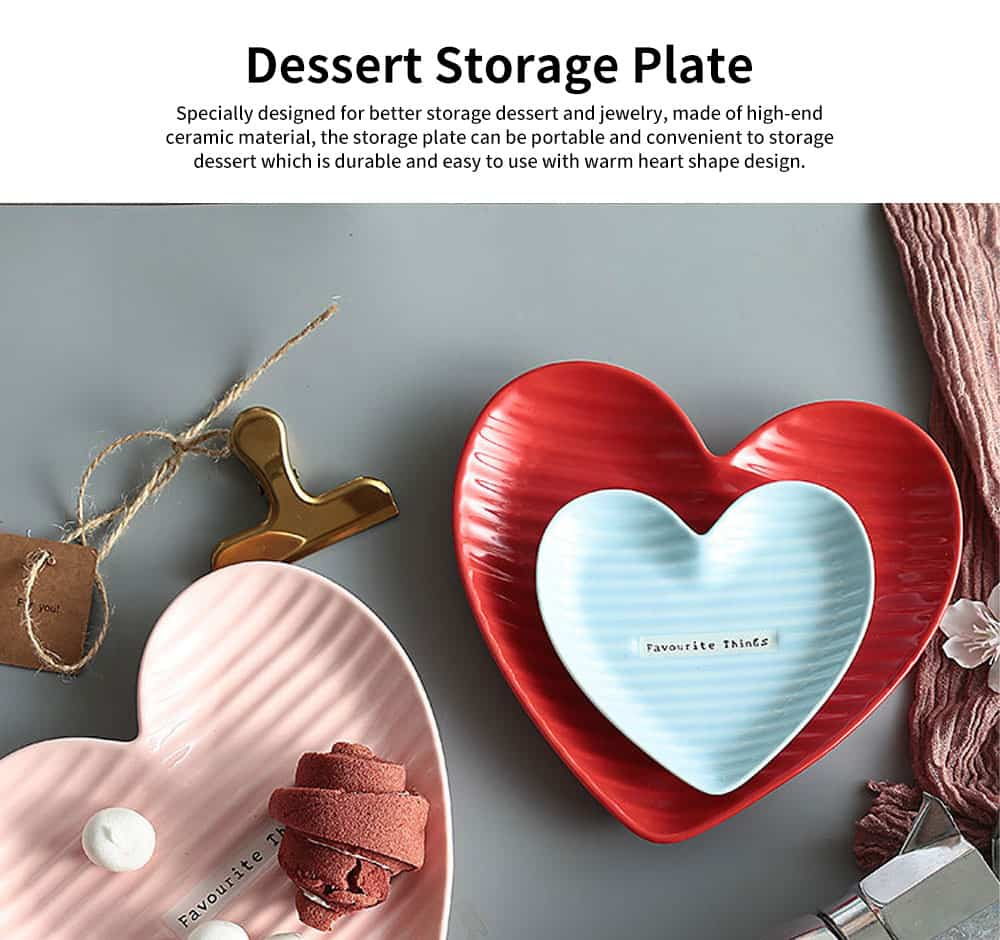 Creative Dessert & Cakes Storage Plate with Warm Heart Shape, Streamline Design Ceramic Breakfast Tray 0
