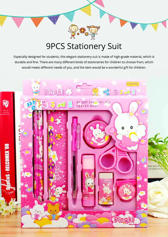 Functional 9 PCS Pencil Sharpener Rubber Scissors Glue Stick Clip Stationery Suit, Useful Stylish Children Study Accessories School Supplies 0