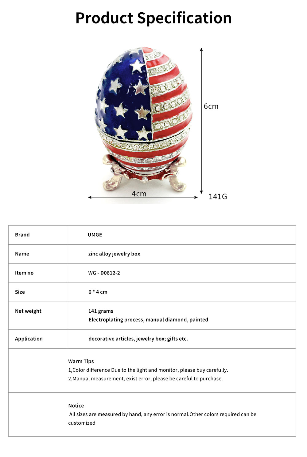 Easter Egg with American Flag Appearance, Enamelled Jewellery Case, Painted Metal Crafts Luxury Ornaments 6
