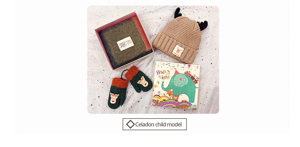 Cute Warm Children Deer Antler Beanie Cap Scarf Gloves 3 PCS Suit, Elegant Cartoon Animal Sewing Autumn Winter Christmas Accessories Set for Children 17