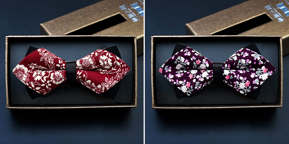 Elegant Groom Bow Tie for Men Boys - Various Style in Different Color, Gentleman Grid Bow Tie Set with Bead 6