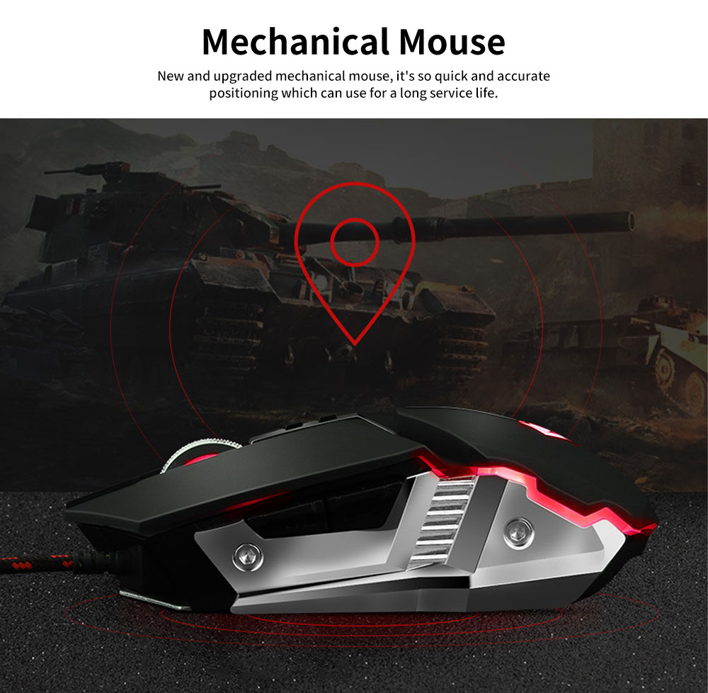 E-sports Game Mouse with Adjustable 4-gears & No Backseat Game Machine Programming Standard, Support to PUBG Machine 1