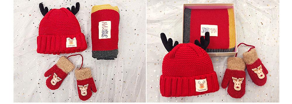 Cute Warm Children Deer Antler Beanie Cap Scarf Gloves 3 PCS Suit, Elegant Cartoon Animal Sewing Autumn Winter Christmas Accessories Set for Children 2