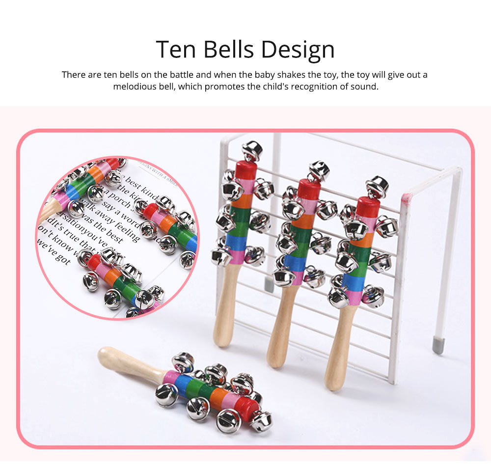 Colorful Instruments Baby Rattles Bell Toys, Wooden Handle Bells Rattle Baby Children Bell Music Toys 5
