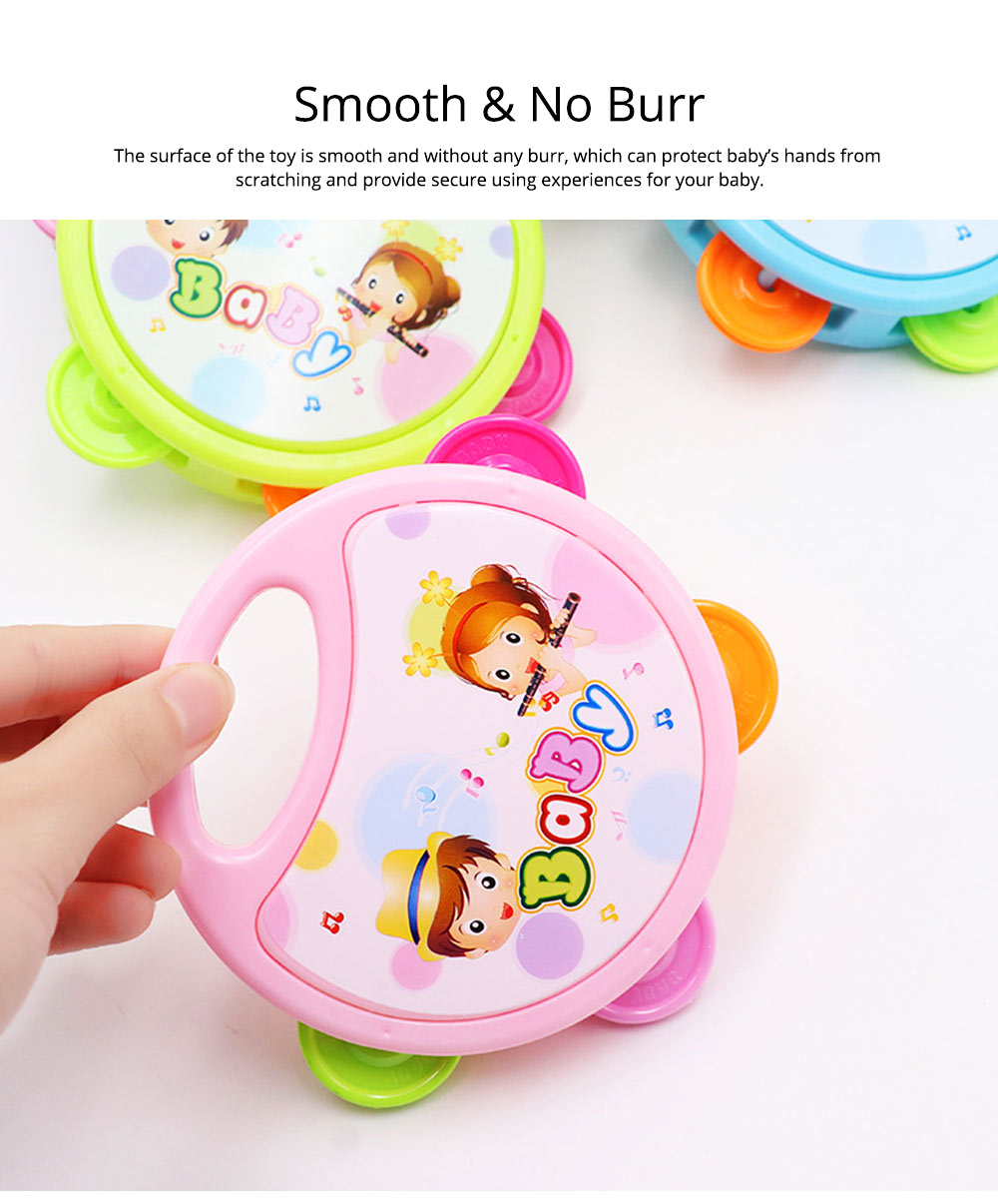 Colorful Baby Hand Bell with Cute Painting, Delicate Solid Plastic Children Tambourine Rattle Early Education Toy 6