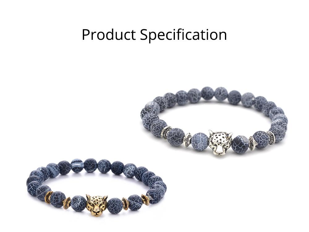 Stylish Elastic Beaded Bracelet Bangle for Men Women, Aggressive Natural Stone 8mm Beads Leopard Head Hand Chain 7