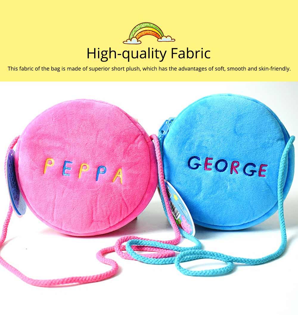 Cute Peppa George Pig Little Round Children Shoulder Bag, Ultrasoft Plush Cotton Satchel Cross Body Bag for Girls Boys 1