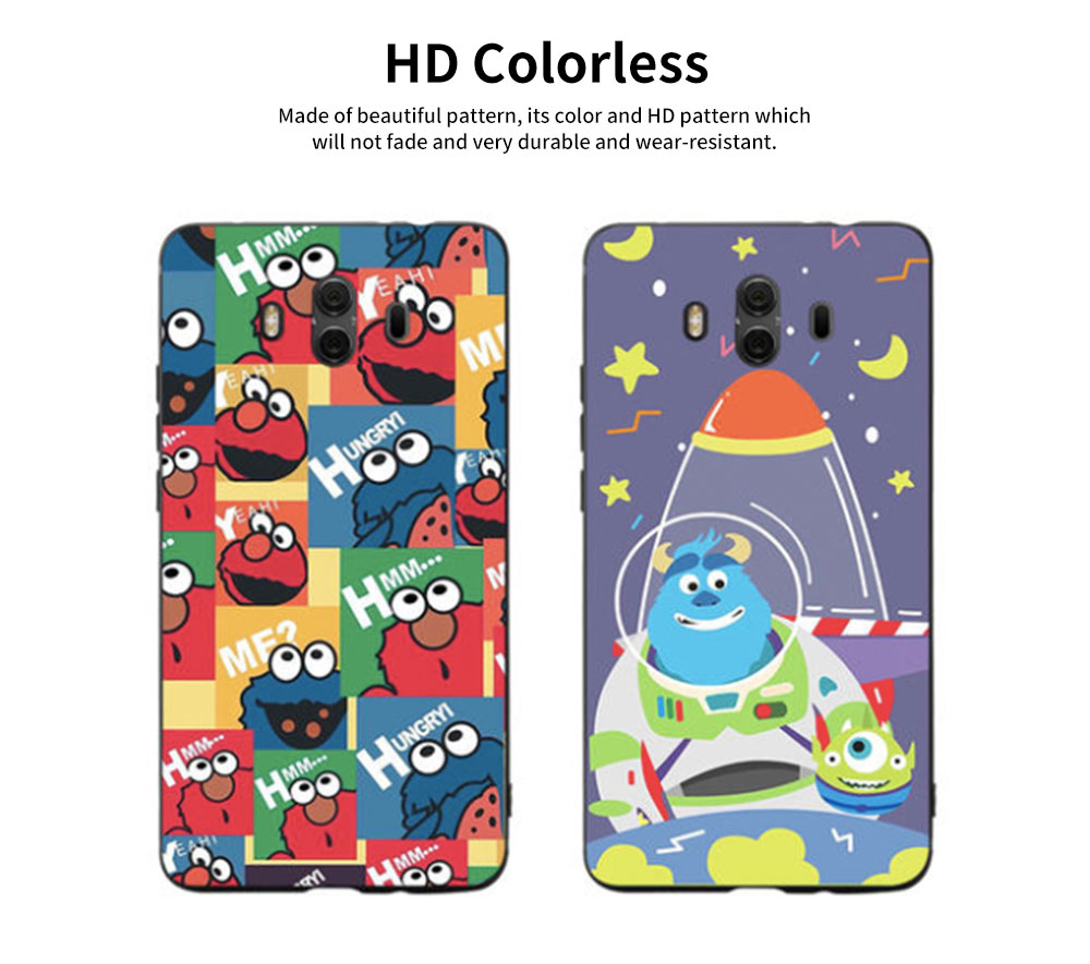 Cute Protective Cover for HUAWEI mate 20/20x/mate 10/mate 9/9 pro, HD Colorless Painted Soft Shell Full Package Tile Cartoon Monsters Case 9
