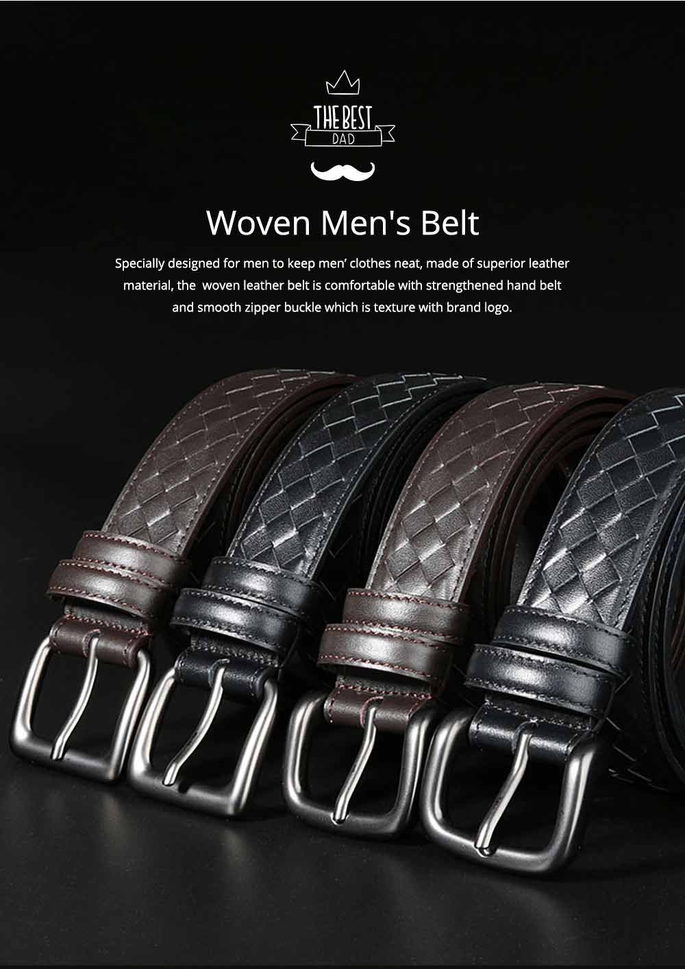 Father's Day Woven Men's Belt, First Layer Leather Belt with Texture Alloy Pin Buckle, Automatic Buckle Business Belt 0