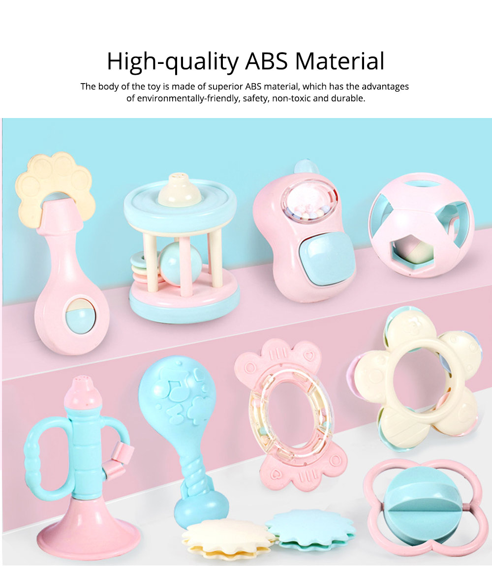 Cute Fancy Rattle 5PCS 8PCS 10PCS Suit for Infants, Durable ABS New-born Baby Hand Bell Puzzle Toy, Can Be Boiled 1