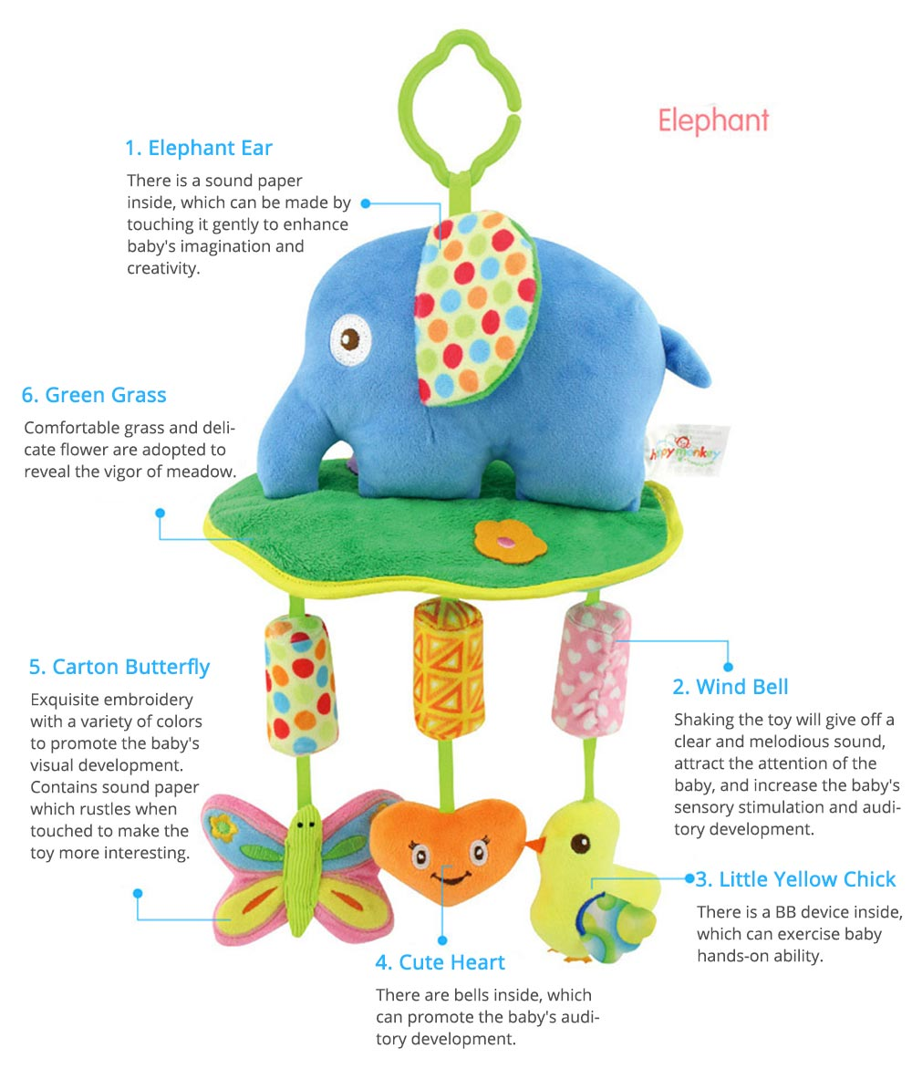 Cute Cartoon Animal Plush Baby Mobile, Delicate Fancy Pacification Early Education Stroller Hanging Toy for Infants Babies 3