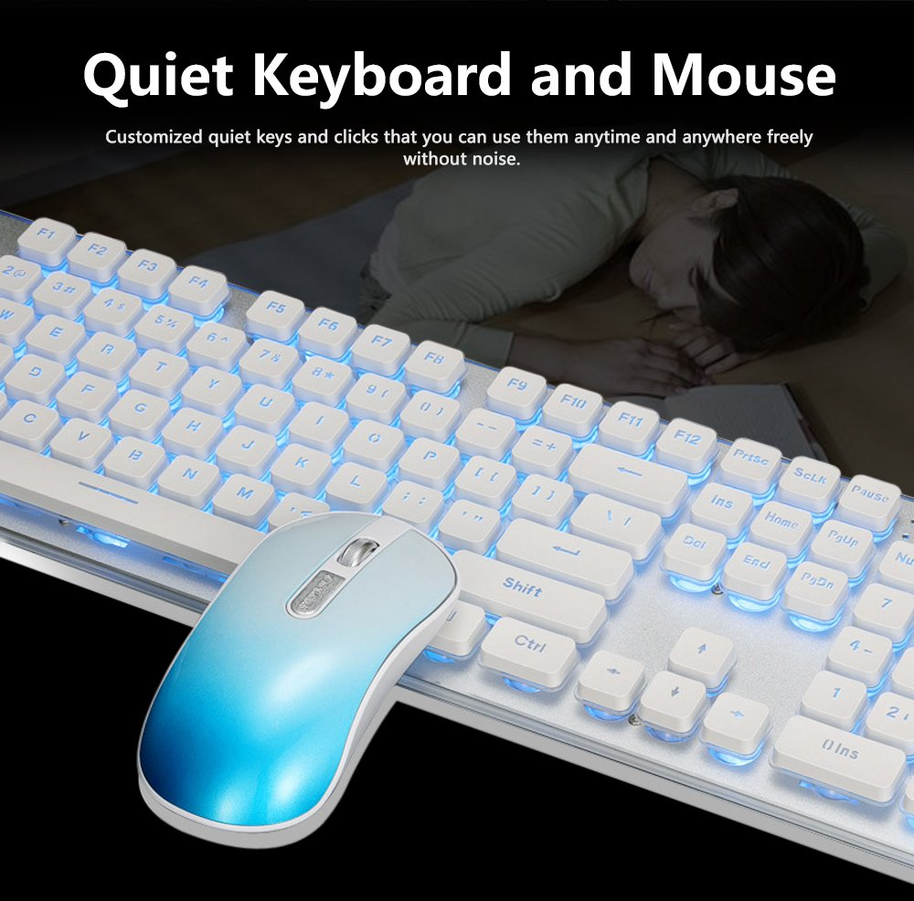 Quiet Gaming Keyboard and Mouse Combo, LED Backlit Quiet Keyboard and Mouse Gaming Set Wireless 11