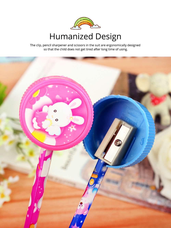 Functional 9 PCS Pencil Sharpener Rubber Scissors Glue Stick Clip Stationery Suit, Useful Stylish Children Study Accessories School Supplies 5