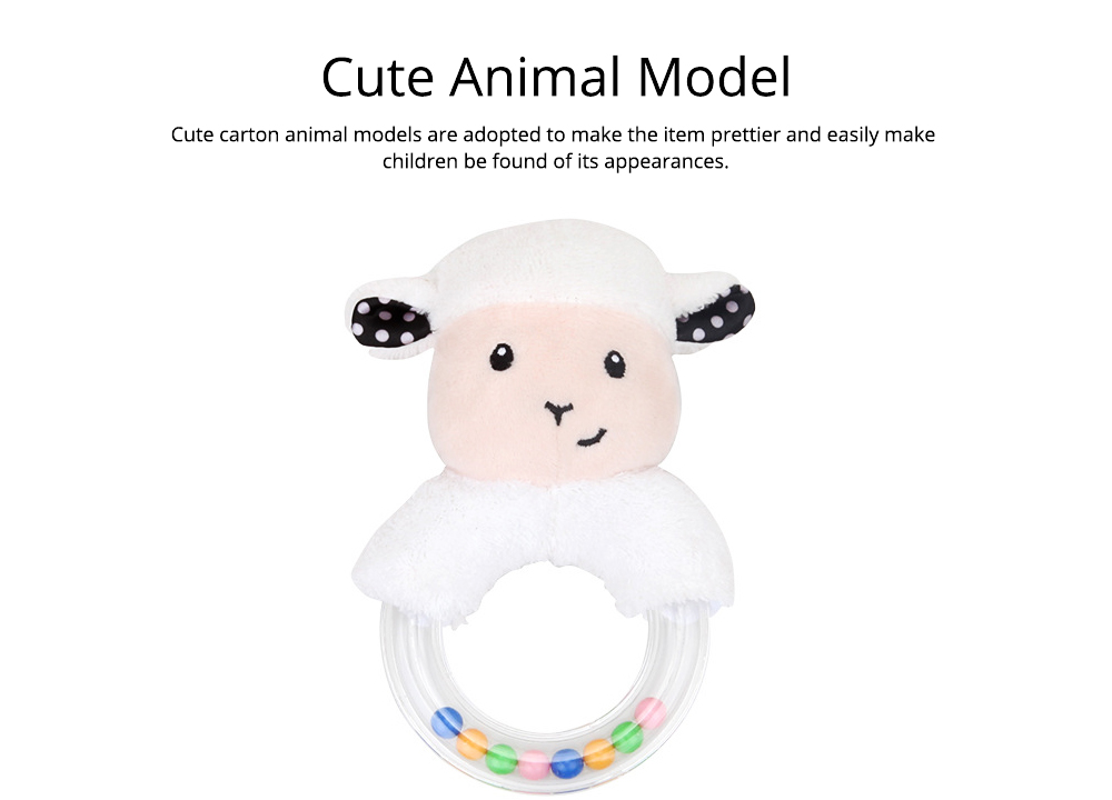 Cute Fluffy Cartoon Animals Rattle, Creative Soft Short Plush Doll Hand Bell with Delicate Embroidery 6