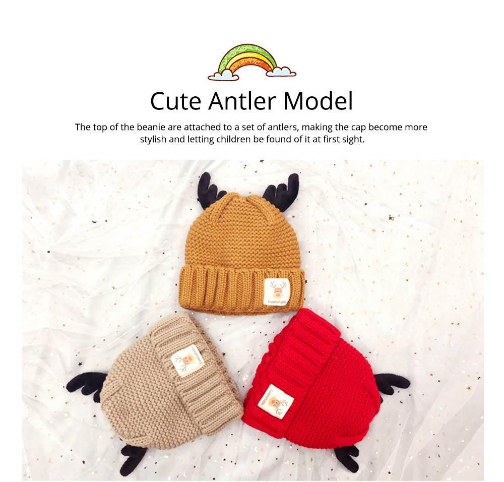 Cute Warm Children Deer Antler Beanie Cap Scarf Gloves 3 PCS Suit, Elegant Cartoon Animal Sewing Autumn Winter Christmas Accessories Set for Children 11