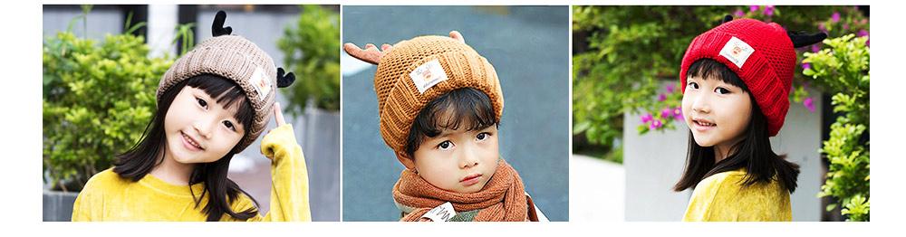 Cute Warm Children Deer Antler Beanie Cap Scarf Gloves 3 PCS Suit, Elegant Cartoon Animal Sewing Autumn Winter Christmas Accessories Set for Children 13