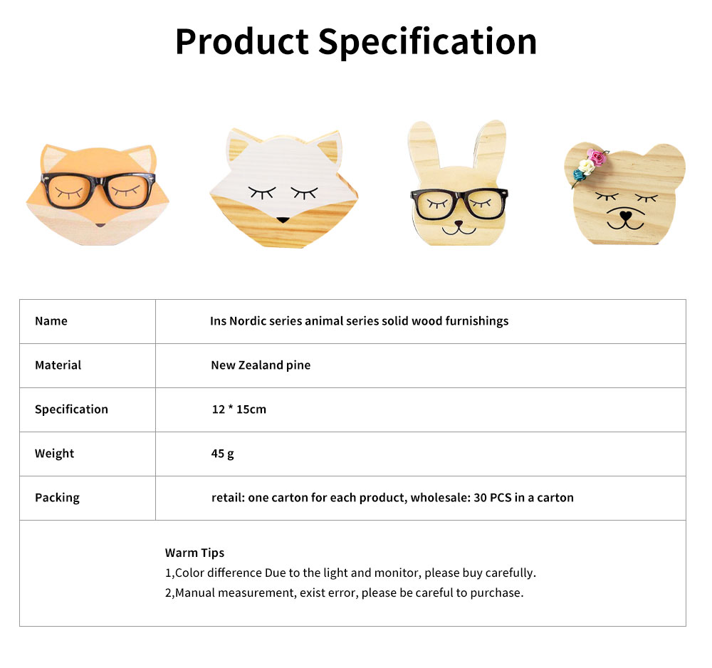 Rabbit Bear Fox Wood Craft Furniture Ornament Baby Kids Room Accessories Nordic Decoration Photography Prop 5