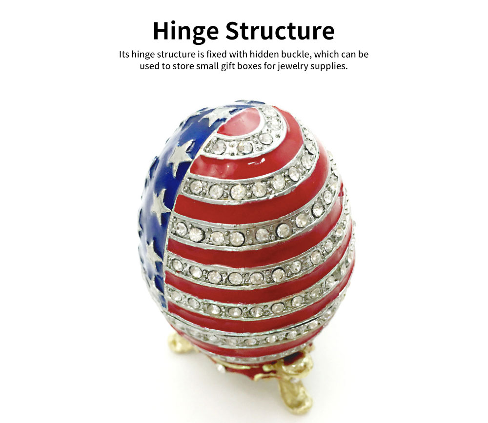 Easter Egg with American Flag Appearance, Enamelled Jewellery Case, Painted Metal Crafts Luxury Ornaments 3