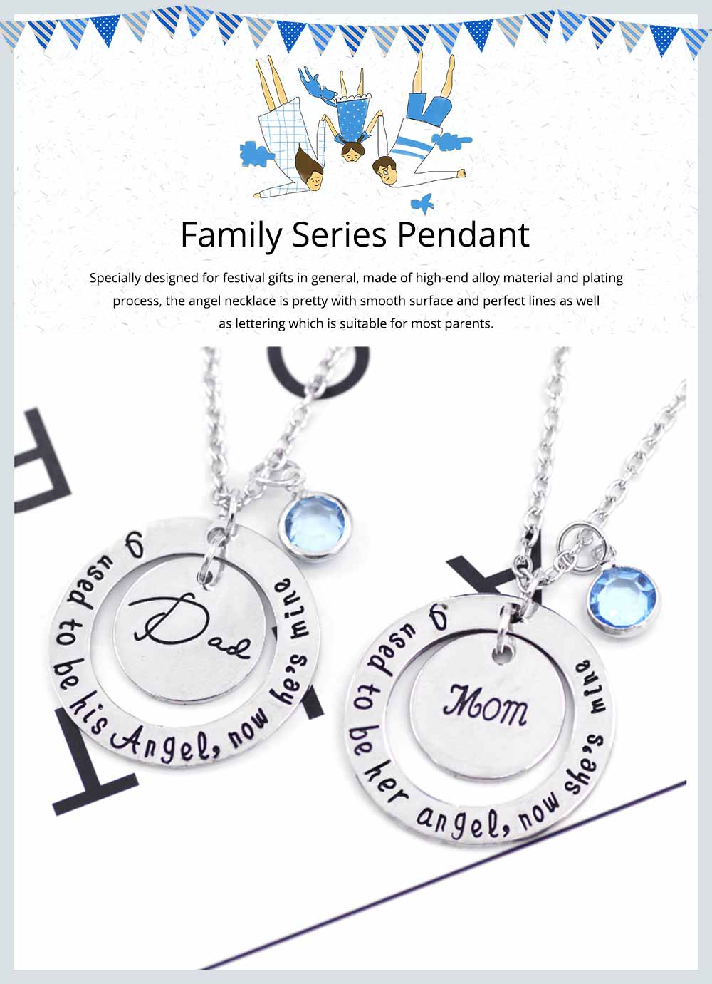 Family Series Pendant with Creative Letters of Dad & Mom Angel, Father's Day and Mother's Gift Angel Necklace 0