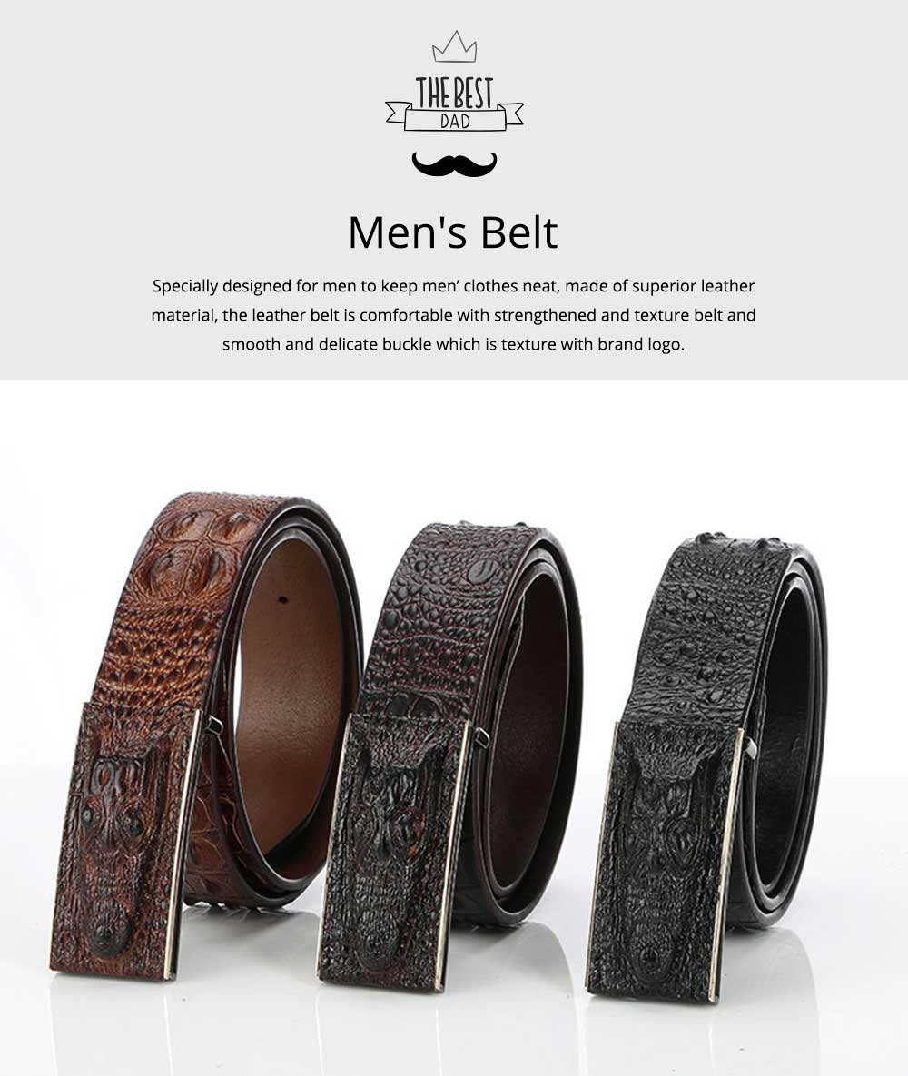 Men's Alloy Buckle Belt with Crocodile Smooth Buckle, Premium Leather Polished Stone Business Belt for Father's Day 0