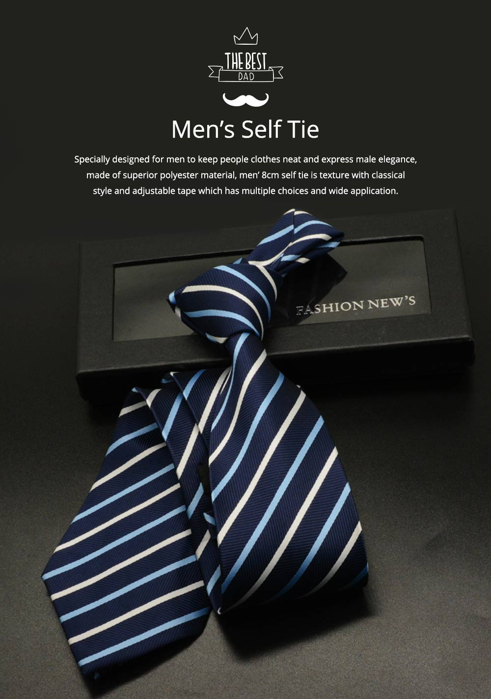 Men's 8cm Business Necktie, Handcraft Unique Stripe Pattern Business Neckties- Various Styles 0
