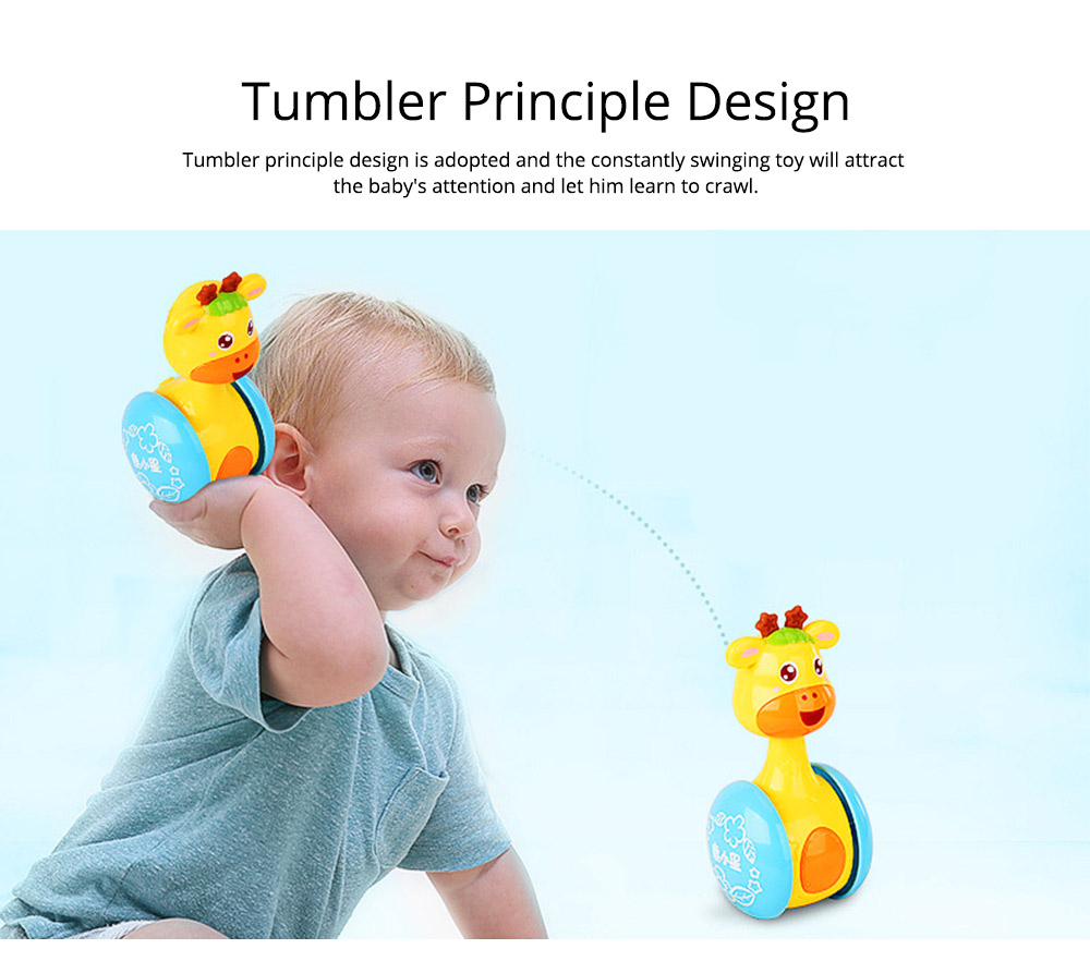 Cute Deer Tumbler Learn Crawling Education Toy, Breaking-proof Swinging Interaction Early Education Toy 3