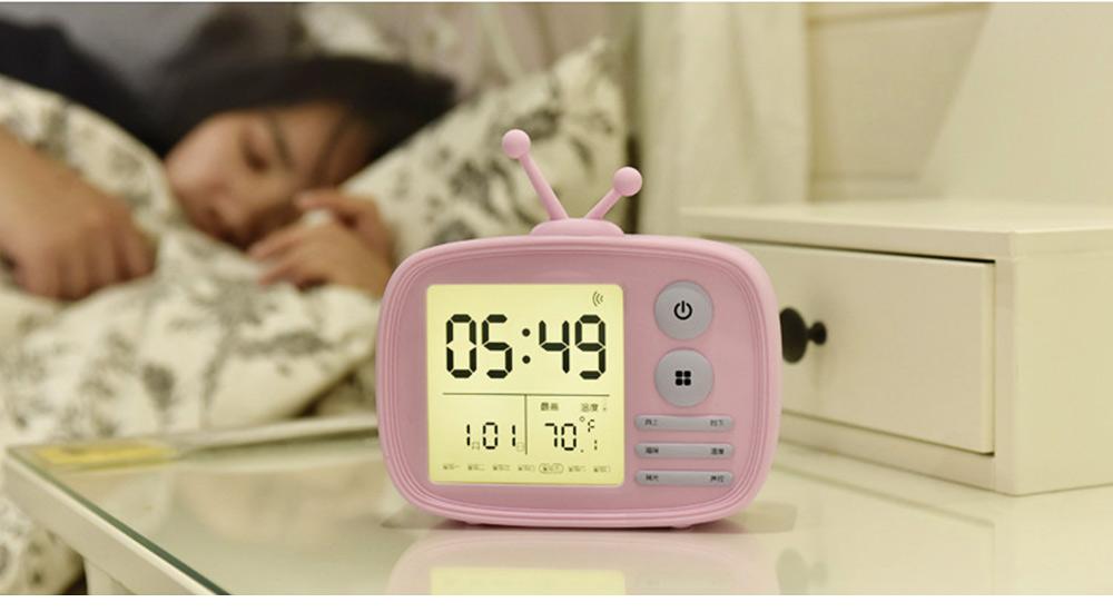 Creative Television Model Intelligent Digital Alarm Clock Watch, Stylish Funny Clock with Sound Reminder Two Light 5