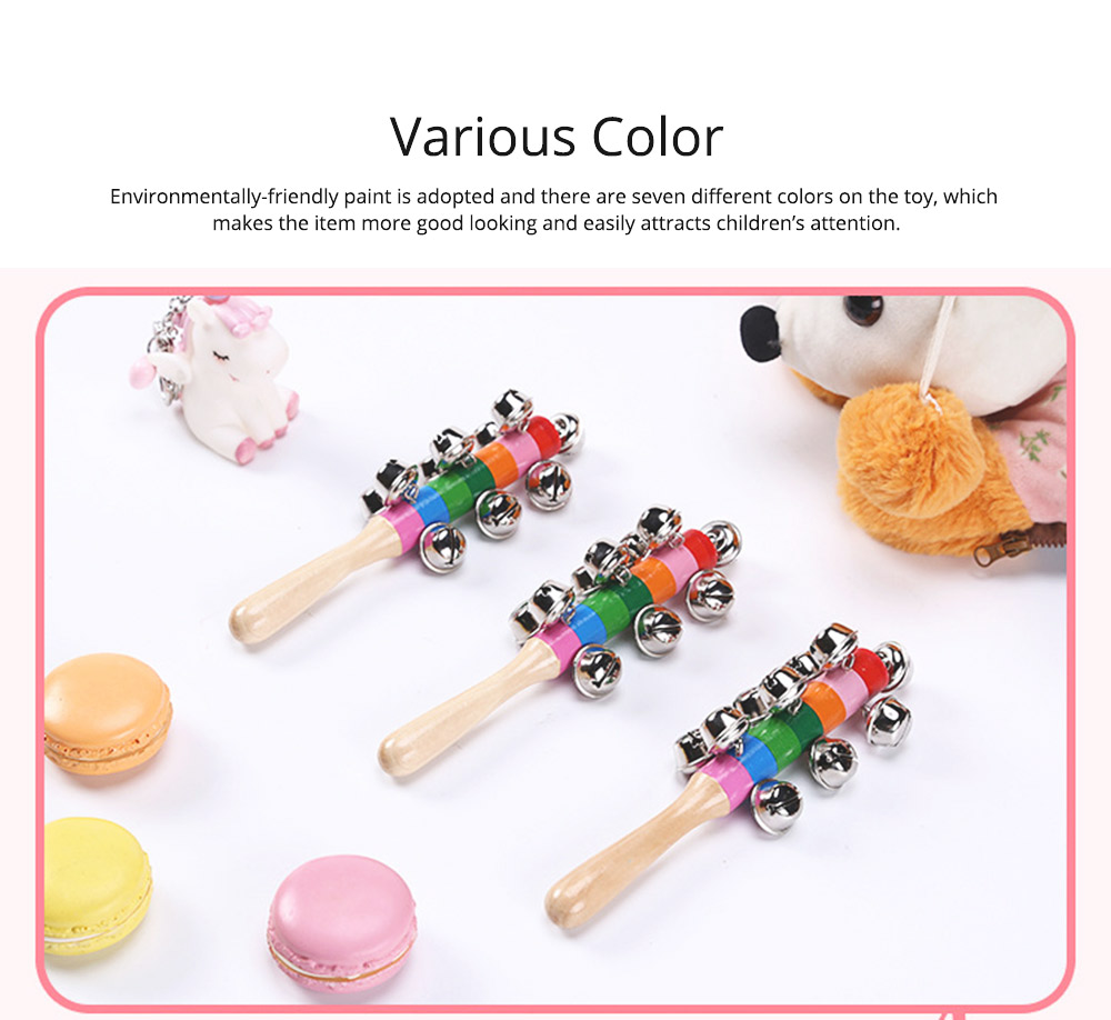 Colorful Instruments Baby Rattles Bell Toys, Wooden Handle Bells Rattle Baby Children Bell Music Toys 2